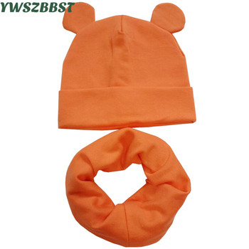 New Autumn Winter Cotton Children Hat Cap Set Boys Girls Cap with Ear Kids Beanies Sets Knitted Baby Hat Scarf women s knitted hat cap ear flaps w ball scarf snood yellow white