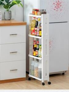 Shelf-Wheels Storage-Rack Fridge-Side-Shelf Bathroom-Shelf Space-Saving Kitchen for Plastic