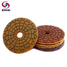 цены на RIJILEI 6PCS 4inch Copper metal bond Wet Diamond polishing pad fast grinding for granite marble concrete floor Abrasive disc в интернет-магазинах