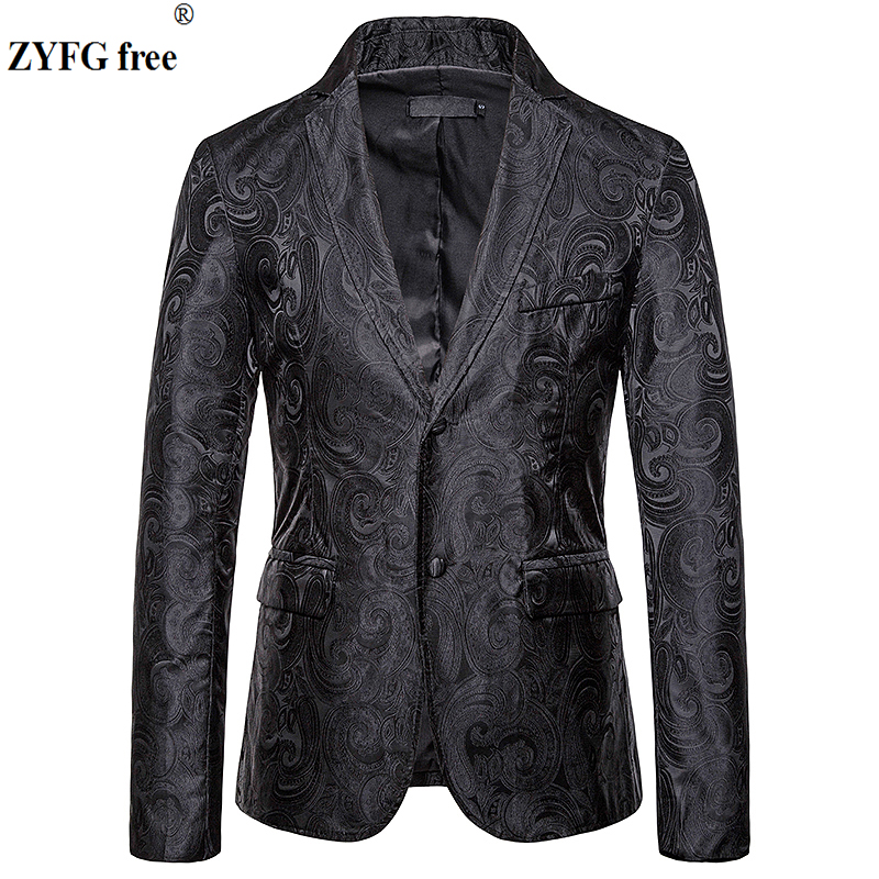 EU Size Fashion Men's Casual Suits & Blazers Smart Casual Style Men Suit Coat Cashew Flowers Embroidered Coat Jacket For Autumn