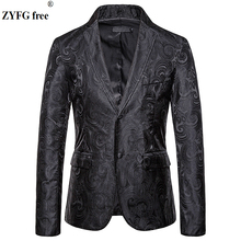 EU size Fashion mens casual Suits & Blazers smart casual style men suit coat Cashew flowers embroidered coat jacket for autumn