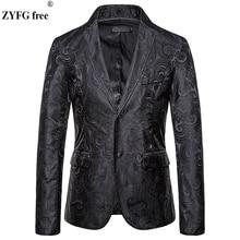 EU サイズのファッション男性のカジュアルスーツ & ブレザースマートカジュアルスタイルの男性のスーツコートカシュー花刺繍コートジャケット秋
