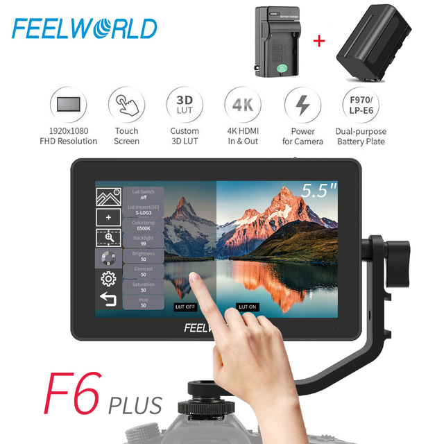 FEELWORLD F6 PLUS 5.5 인치 카메라 DSLR 필드 모니터 3D LUT 터치 스크린 IPS FHD 1920x1080 비디오 포커스 지원 4K HDMI 지원