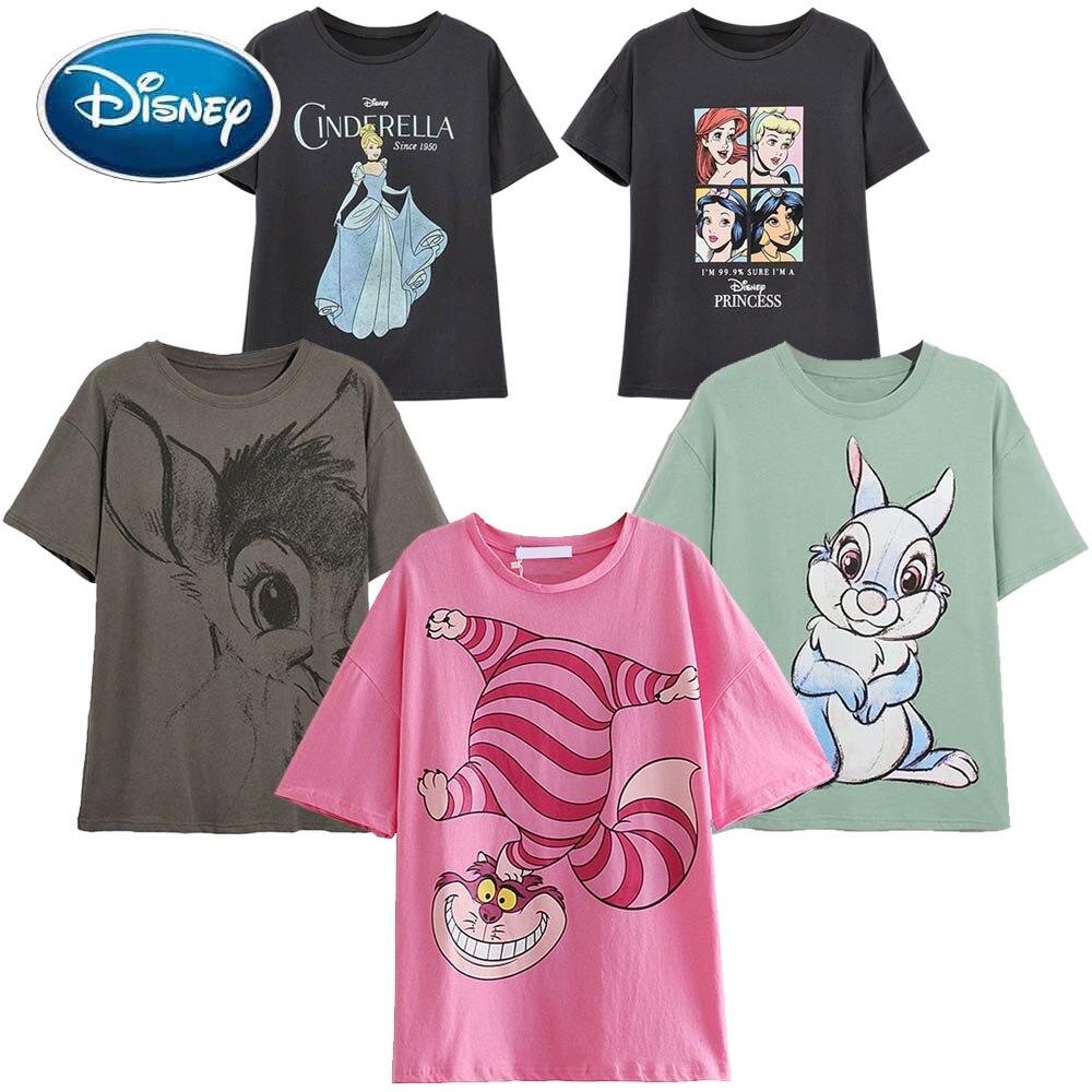 Camiseta de manga corta con dibujo de Mickey Mouse para mujer, top de moda de Disney, pato Donald Daisy, Bambi, Thumper, conejo, Cenicienta