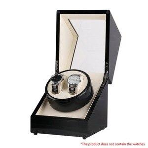 Image 4 - Drewniane pudełko na zegarki Winder Case zegarek samochodowy Winder Shaker przezroczysta osłona zegarek Box Motor US Plug