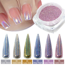 1g/ขวดHolographic Glitter Nail Art Pigment Powder Shiningเลเซอร์Dipping Spangles Chromeกระจกเล็บฝุ่นBE1028-1(China)