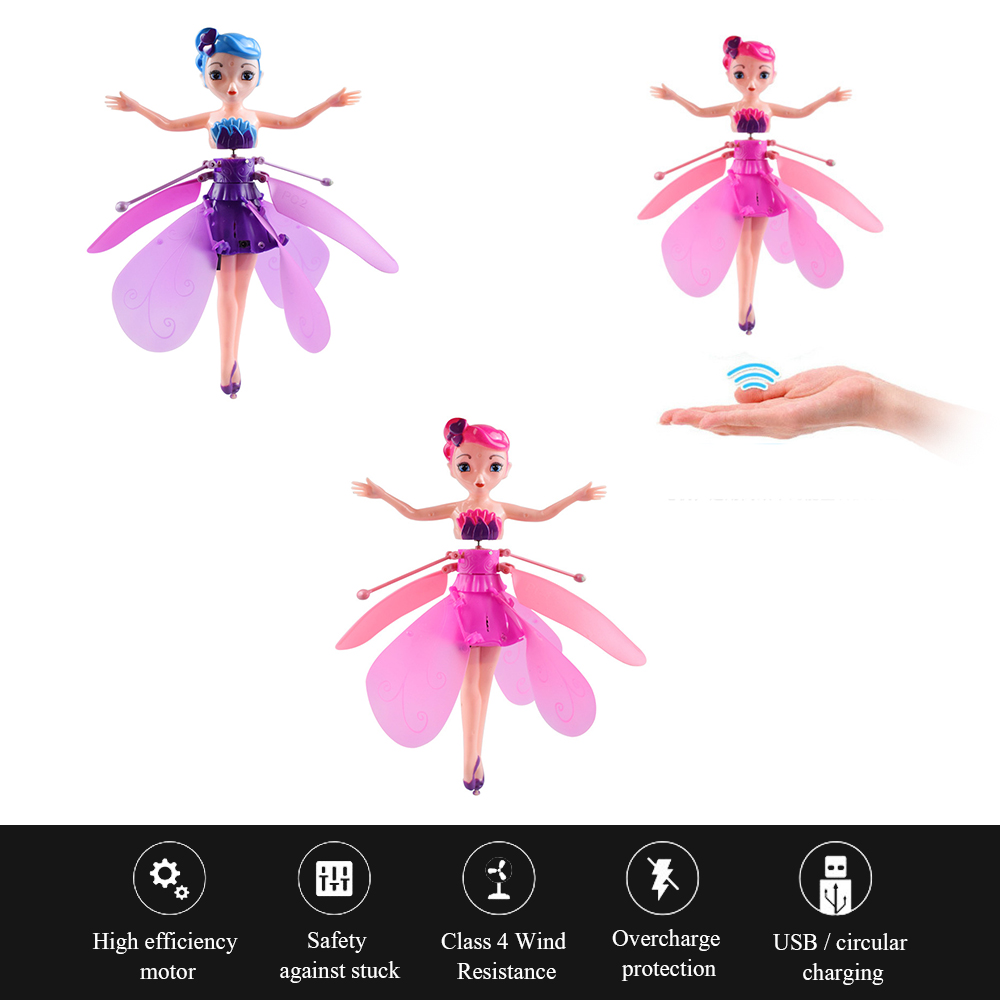 Induction Magic Princess Doll Infrared Light Hanging Flying Toy Mini Remote Drone Girl Child Birthday Gift Toy Christmas Gift