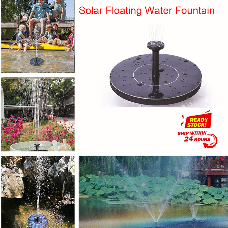 MINI Solar Powered Floating Bird Bath Water Panel Fountain Pump Garden Pond Pool|LED Underwater Lights| |  - title=
