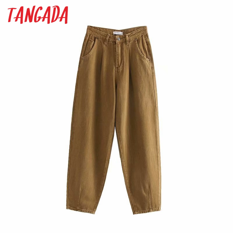 Tangada Fashion Women Loose Harm Jeans Pants Boy Friend Style Long Trousers Pockets Zipper Loose High Street Female Pants 4M68
