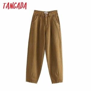 Tangada fashion women loose harm jeans pants boy friend style long trousers pockets zipper loose high street female pants 4M68