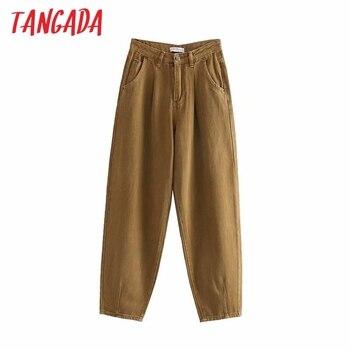 Tangada mode frauen lose schaden jeans hosen junge freund stil lange hosen taschen zipper lose high street weibliche hosen 4M68