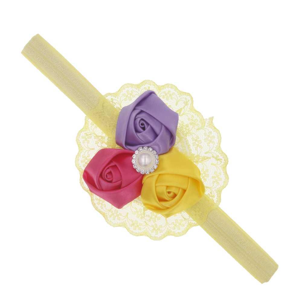 Baby Hoofdband rose flower rhinestone haarband Accessoire Elastische Hoofdband Fotografie Props baby haar Accessoires hoofddeksels