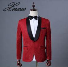 Xnxee mens glossy suit jacket nightclub Slim