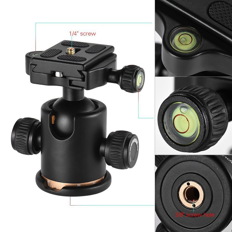 Camera Ball Head Tripod With Quick Release Plate Fits With Arca-Type Quick-Release System Max Load 8 Kg For Canon 5 D Markii I