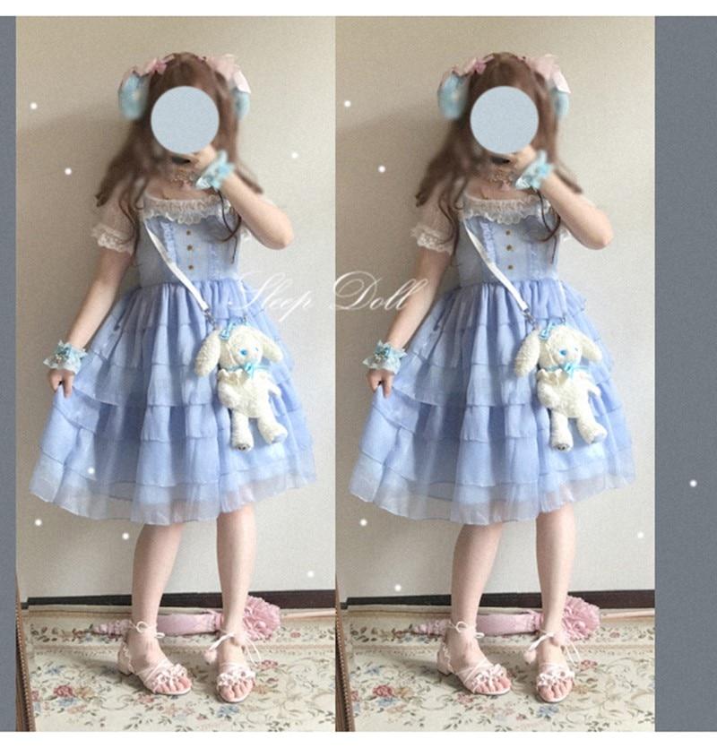 Cake dress Chiffon Star Strap Lace Dress  bowknot high waist victorian dress kawaii girl gothic lolita jsk loli cosplay sweet