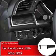 yaquicka 8pcs carbon fiber style car exterior door handle grab cover bezel trim styling for honda civic 10th 2016 2017 rhd Car styling Carbon Fiber Sticker for Honda Civic 10th 2016-2019 Car Headlight Switch Panel Frame Cover Trim Cover Sticker