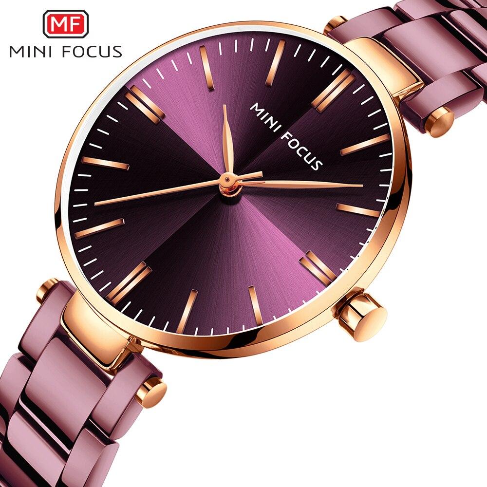 MINIFOUCS Women Watches Simple Ladies Steel Watch Ladys Purple Quartz Waterproof Watches Female Luxury Brand Fashion Clock Girl