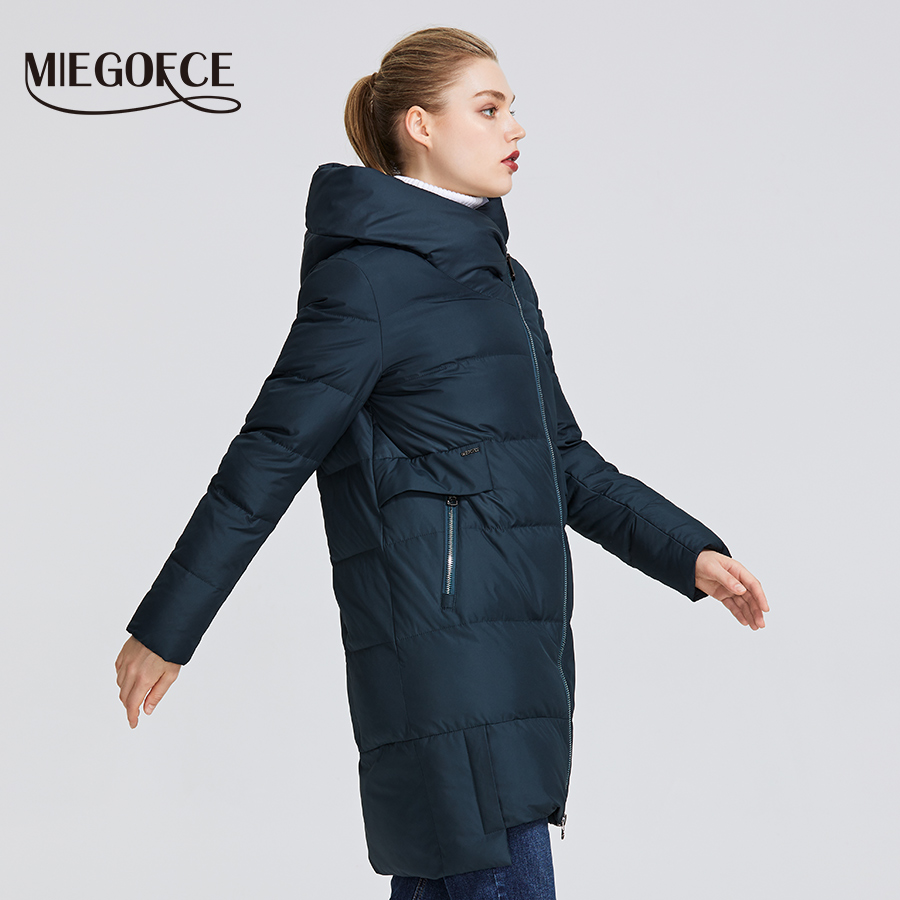MIEGOFCE 2019 kolekcja zimowa damska ciepła kurtka wykonane z prawdziwego Bio Parka kobiety wiatroszczelna Stand Up kołnierz z kapturem płaszcz w Parki od Odzież damska na  Grupa 3