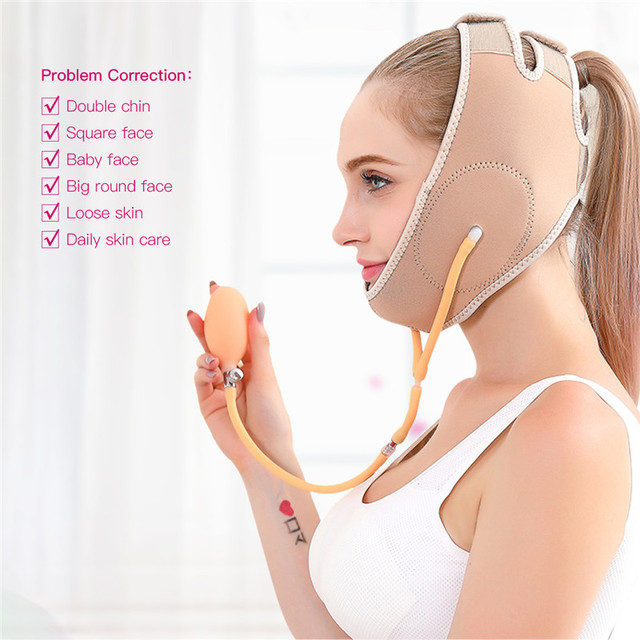 Gas Air Press Face Lift Thin V Line Face Bandage Mask Slimming Strap Belt Facial Thin Double Chin Remover Shaper Weight Loss