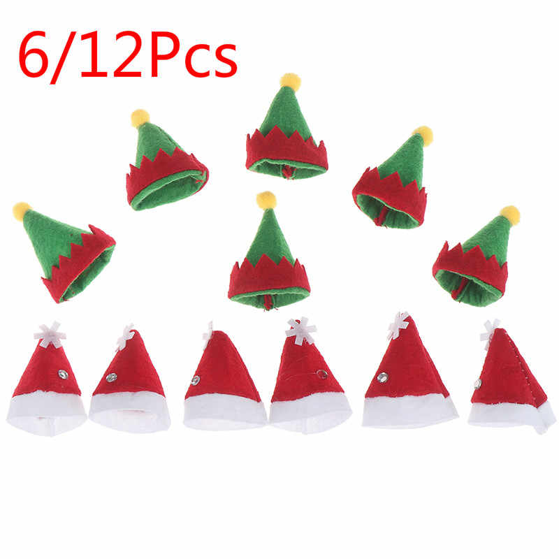 6/12Pcs Mini Topi Santa Claus Natal Liburan Lollipop Top Topper Cover Festival Natal Pesta Dekorasi