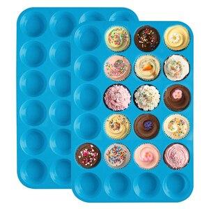 Image 2 - ミニマフィンカップ 24 穴シリコーン石鹸型耐熱皿ミニケーキパントレイ金型ホーム diy ケーキベーキングツール金型