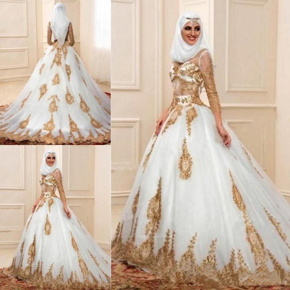 Luxury indian wedding dress High Neck 18/18 Sleeves Gold Appliques Arabic  Custom Made Elegant Bridal Gown Muslim Wedding Dresses