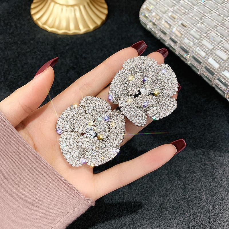 FYUAN Full Rhinestone Crystal Stud Earrings for Women Oversize Flower Crystal Earrings Party Weddings Jewelry Gifts