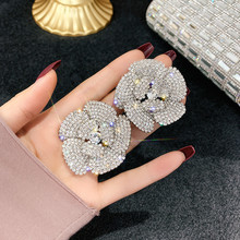 цена на FYUAN Full Rhinestone Crystal Stud Earrings for Women Oversize Flower Crystal Earrings Party Weddings Jewelry Gifts