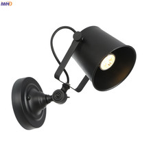 IWHD Black Metal Vintage Wall Lamp Bedroom Bar Porch Mirror Stair Light Loft Decor Retro Industrial Wall Lights Fixtures LED iwhd adjustable swing long arm retro wall lights for home bedroom mirror stair light loft decor industrial vintage wall lamp led