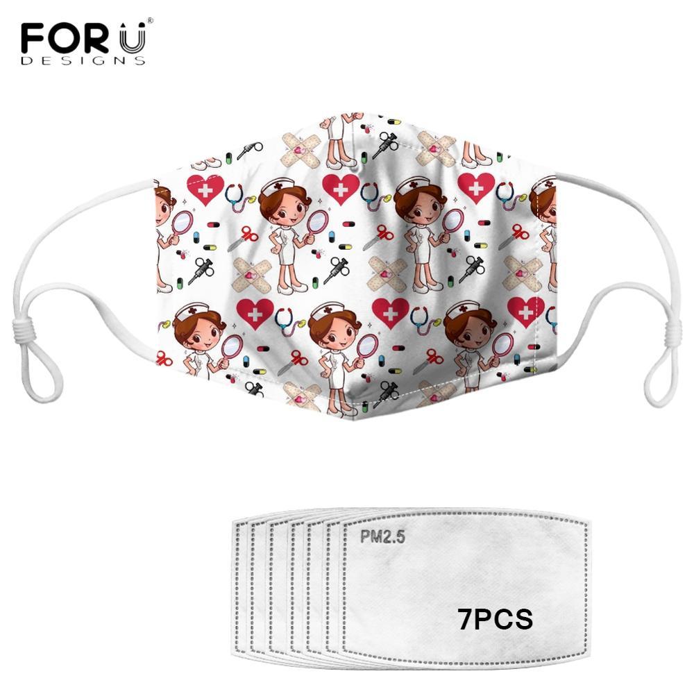 FORUDESIGNS Cute Cartoon Nurse Pattern Woman Mouth Mask Fashion White Nursing Face Masks Women Anti-dust Mask With 7Pcs Filter