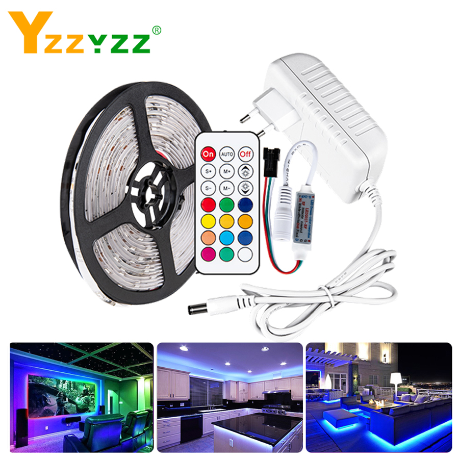 1-5M 12V WS2811 5050 RGB Led Light IR Remote Control Color Change RGB Diode Tape Led Strip For TV Bed Computer Kitchen Home Deco