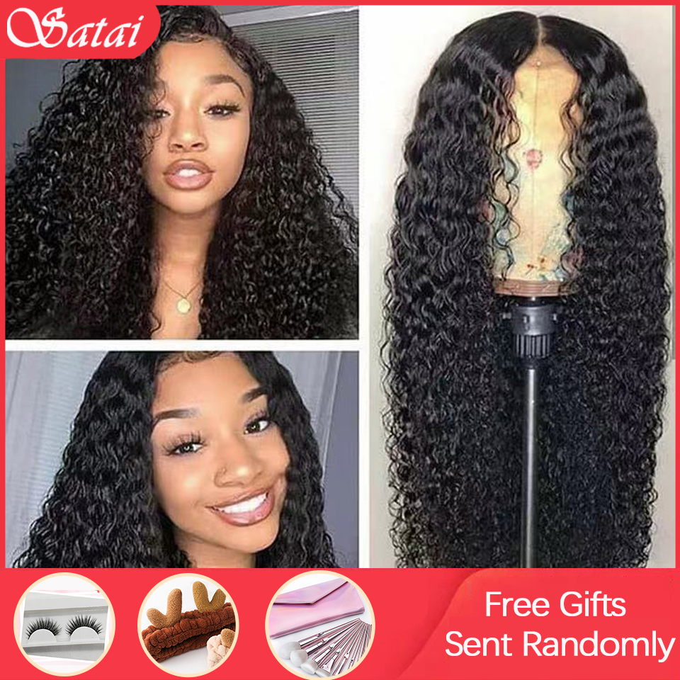 Satai Curly Human Hair Wig 13x4 Lace Front Human Hair Wigs Kinky Curly Wig Pre Plucked With Baby Hair 150% Density For Women