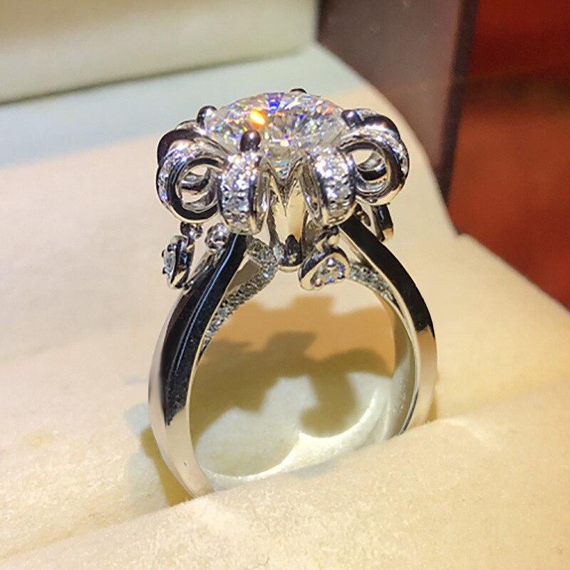 Kinel обручальные кольца из стерлингового серебра 925 пробы с белым цирконием, вечерние ювелирные изделия с кристаллами, 1 карат|Кольца|   | АлиЭкспресс