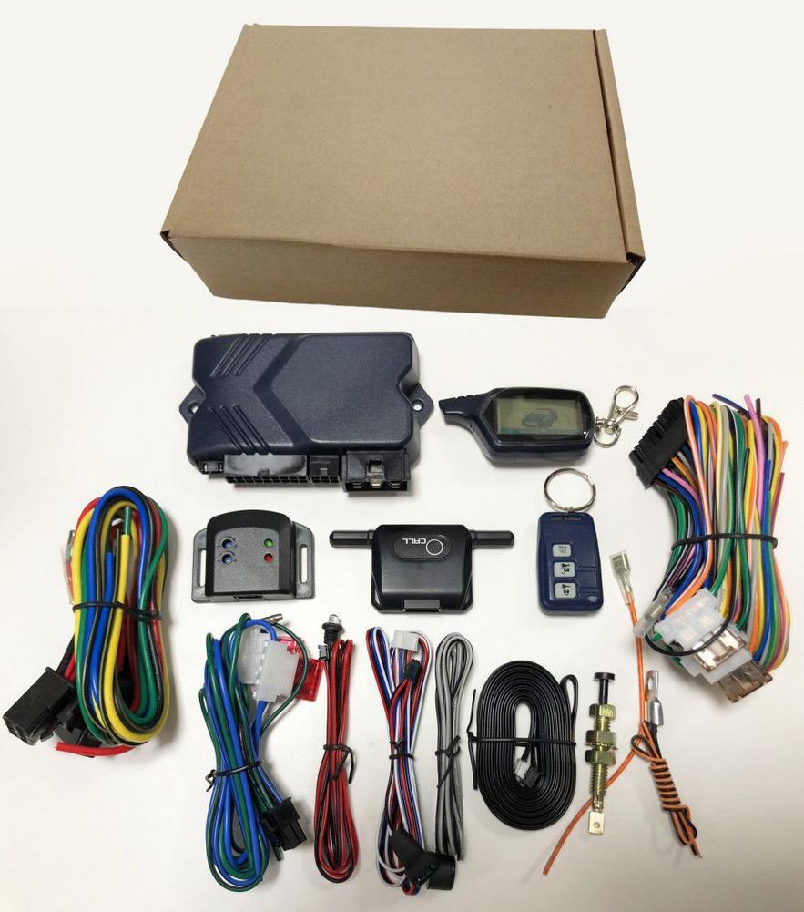 Système antivol RC d'alarme antivol de voiture bidirectionnelle avec démarrage du moteur boîtier porte-clé télécommandé LCD pour Version russe B9