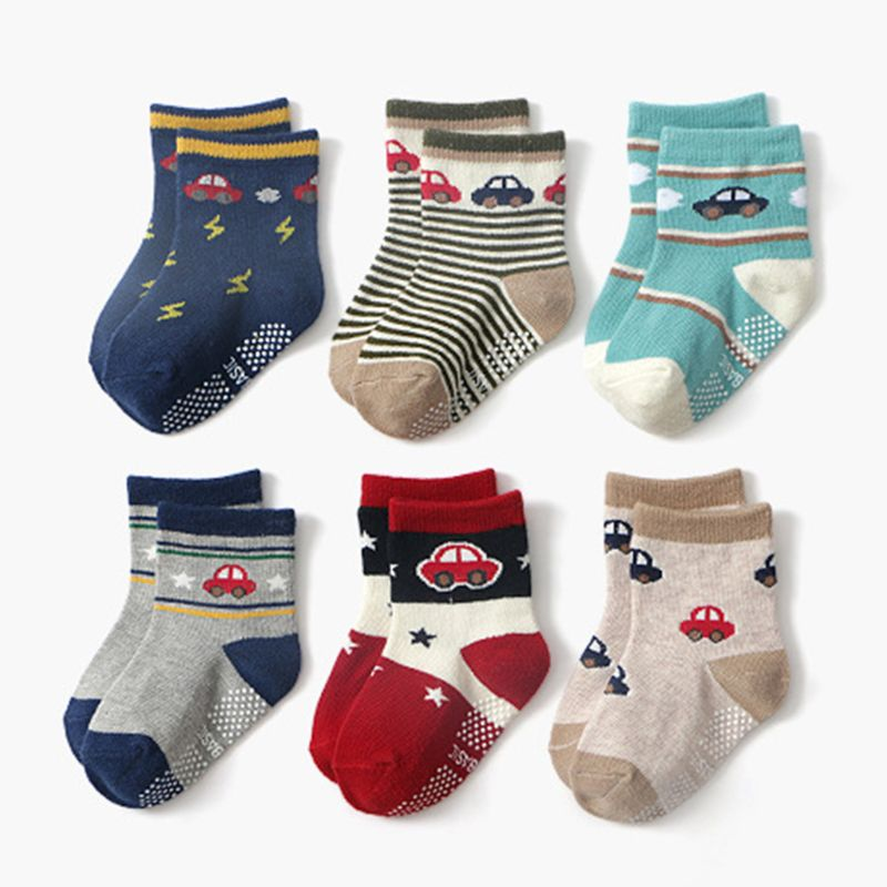 12 Pair/Set Toddler Baby Cotton Socks Comfortable Anti Slip Socks For 0-24 Months Boys Girls