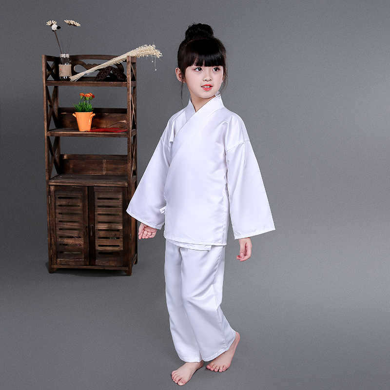 Girls Classical Traditional Costume White And Pink Ancient Pajamas Suit  Han Tang Dynasties Chinese Hanfu Clothes Tops + Pants