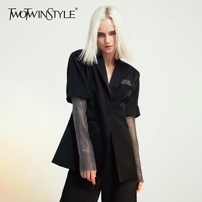 TWOTWINSTYLE Patchwork Diamond Women's Blazer Long Sleeve Notched Hit Color Slim Suit Female Autumn Plus Size Fashion New 2020