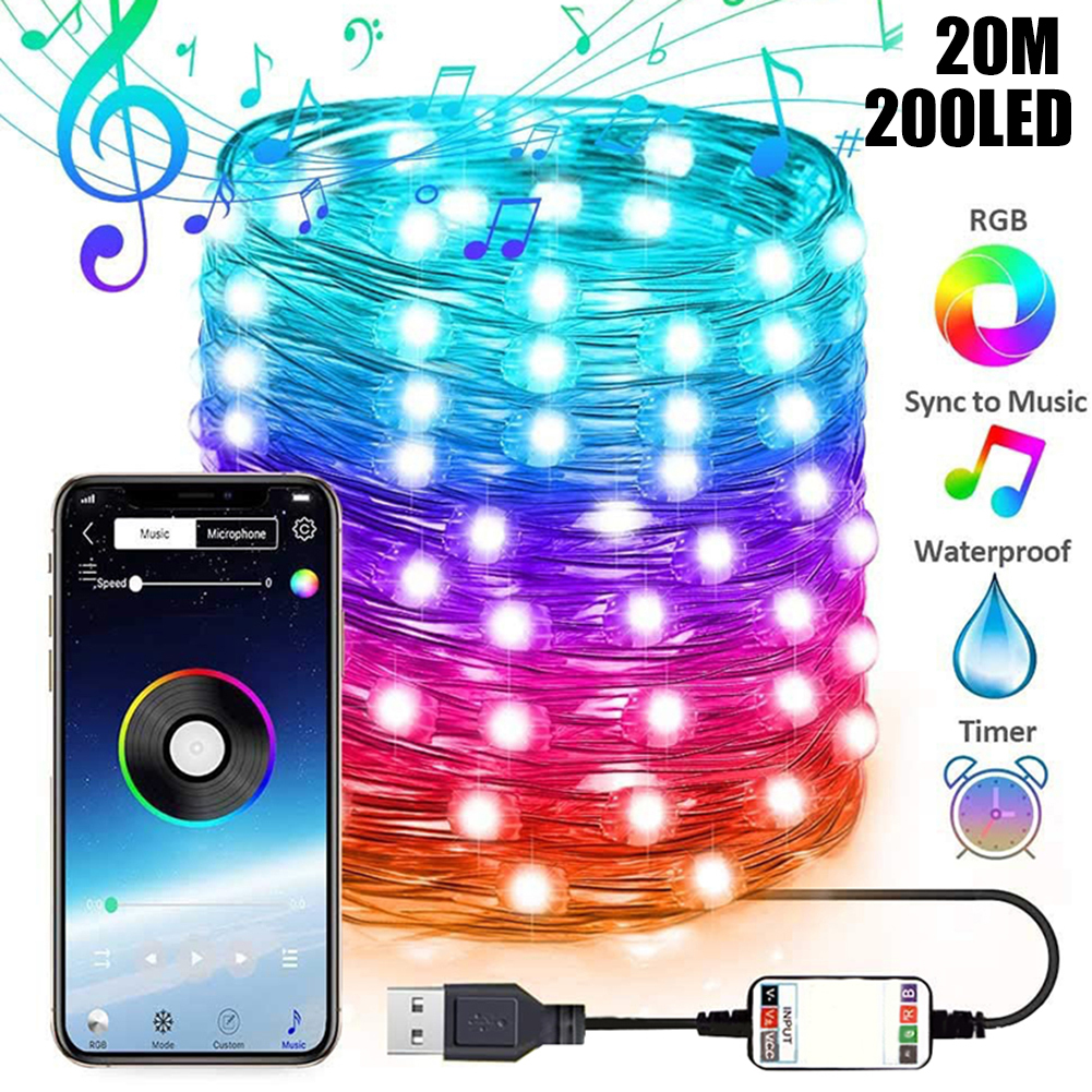 2M 5M 10M 20M LED String lights App Remote Control Holiday lighting Fairy Garland For Christmas Tree Wedding Party Decoration