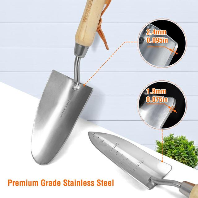 WORKPRO 8PC Garden Tools Set Stainless Steel Heavy Duty Wooden Handle Tote Gloves Trowel Hand Weeder Cultivator Included 3