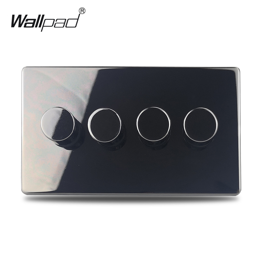 H6 Black Nickel 4 Gang 2 Way LED Light Dimmer Switch Push On Off Stainless Steel Panel Metal Button
