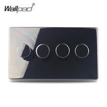 Interruptor de atenuación de luz LED H6, negro, níquel, 4 entradas, 2 vías, pulsador, Panel de acero inoxidable, botón de Metal