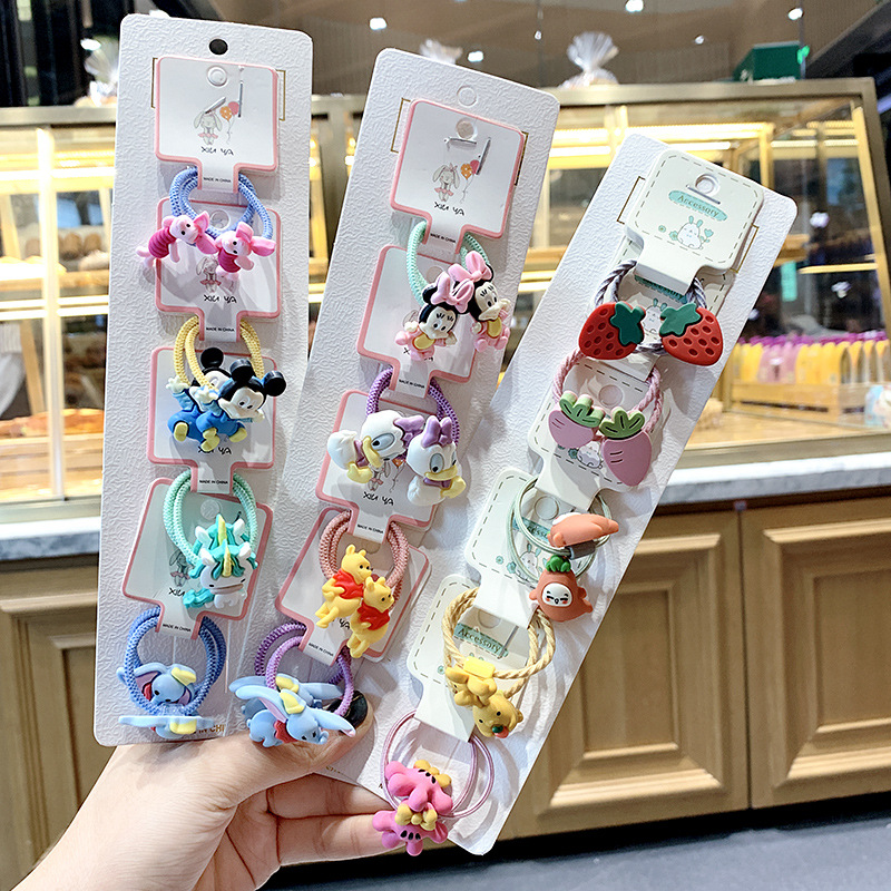 8/10/15pcs Cute Cartoon Hair Scrunchies Korean Flower Resin Hair Gum For Girls Elastic Hair Rope Band Headband Hair Accessories