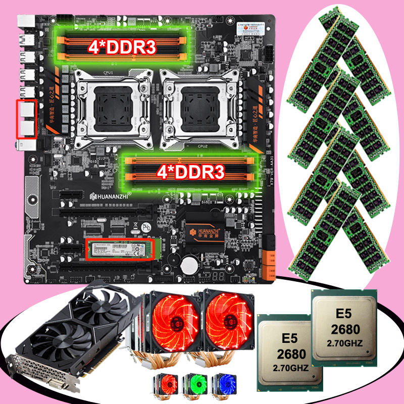 New HUANANZHI Dual X79-8D Motherboard With M.2 128G SSD Video Card GTX1050TI 4G Dual CPU Xeon E5 2680 With Coolers RAM 64G(8*8G)
