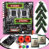 Nueva placa base HUANANZHI dual X79-8D con m2 128G SSD tarjeta de vídeo GTX1050TI 4G dual CPU Xeon E5 2680 con refrigeradores RAM 64G (8*8G)