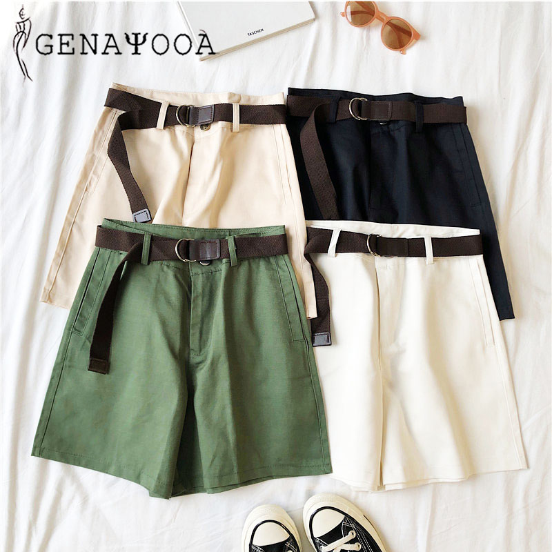 Genayooa Casual   Shorts   Women Fitness Wide Leg Black High Waist   Shorts   With Belt Office Lady Vintage   Shorts   Feminino Plus Size