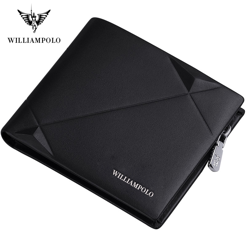 Williampolo Men's Slim Wallet Genuine Leather Mini Purse Casual Design Bifold Wallet Brand Short Slim Wallet