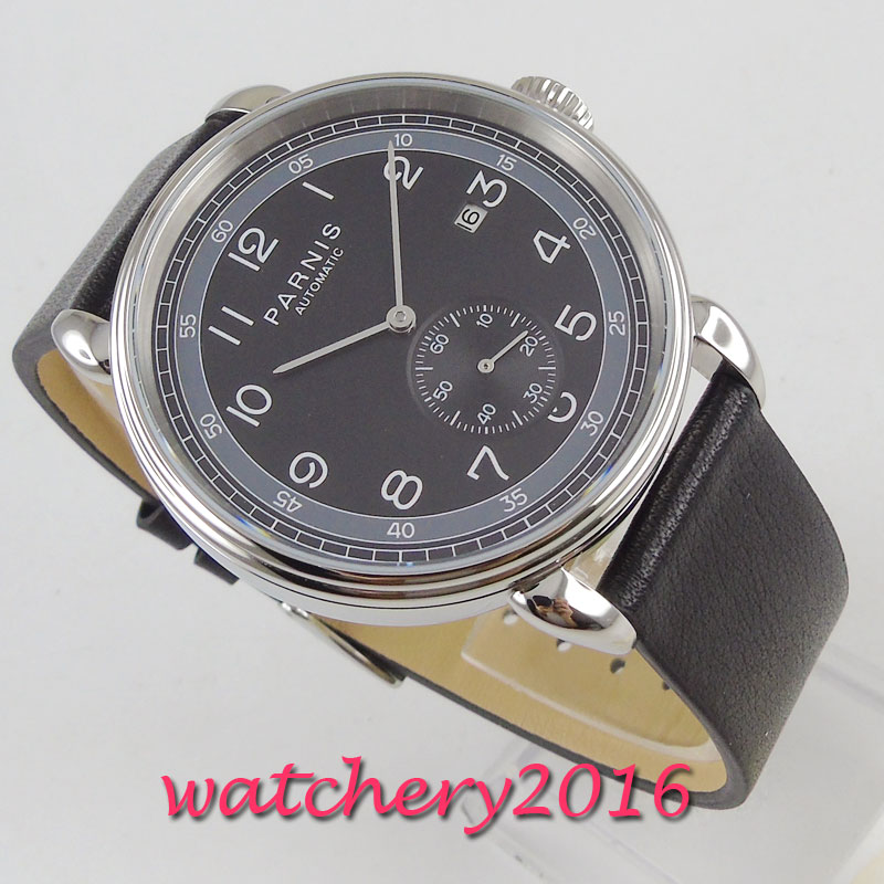 42mm PARNIS Black Dial Date Indicator stainless steel Leather Automatic Mechanical men's Watch
