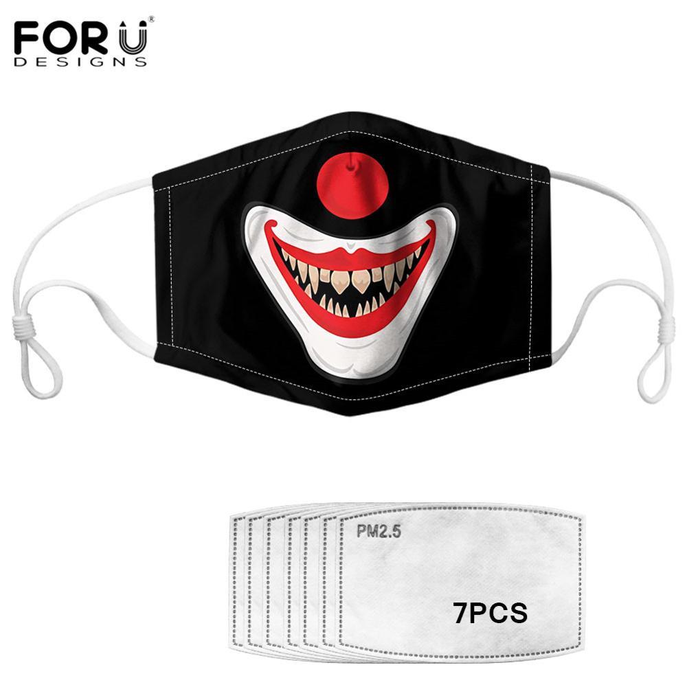 FORUDESIGNS 3D Clown Face Unisex Lower Face Mouth Nose Maske Anti PM2.5/Haze Dustproof  Mouth Mask Face With 2Pcs Filter Masks