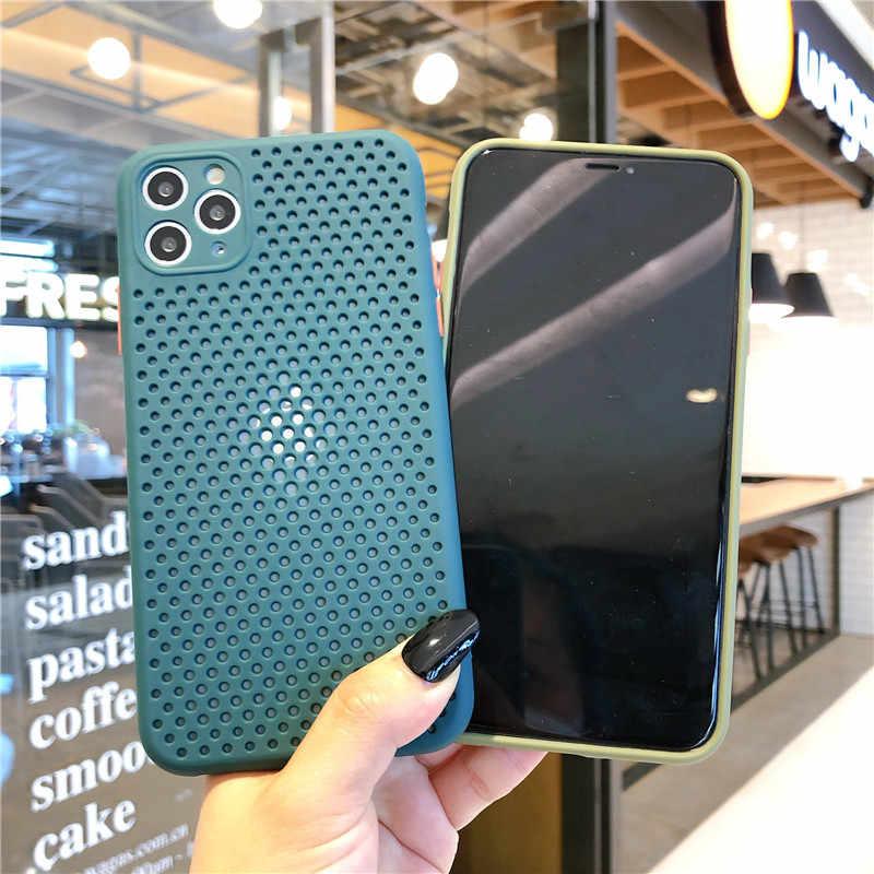 울트라 슬림 소프트 열 소산 할로우 원래 실리콘 전화 케이스 아이폰 11 프로 최대 XR XS 7 8 플러스 X 6 6S SE 2020 케이스