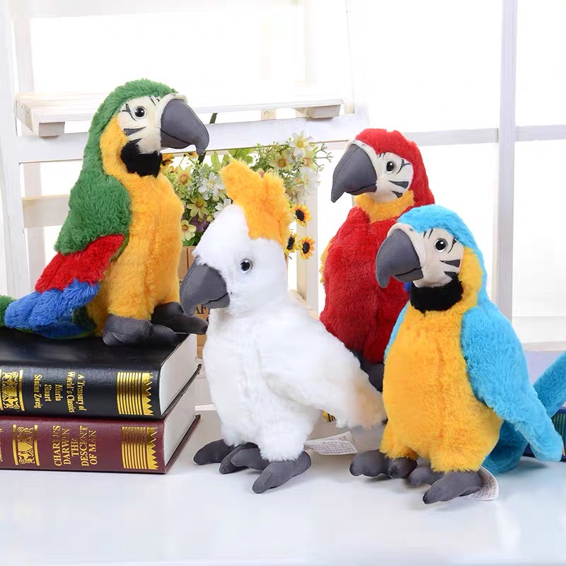 25cm Rio Macaw Cute Parrot Plush Doll Toy Cartoon Animal Real Life Parrot Stuffed Decoration Dolls Toys For Children Birthday